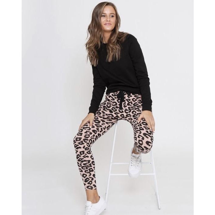 Drop Crotch Pant Black & Blush Leopard