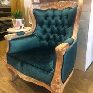 Louis 1 Seater Whitewash Teak Frame & Emerald Green Turkish Velvet