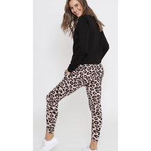 Load image into Gallery viewer, Drop Crotch Pant Black & Blush Leopard