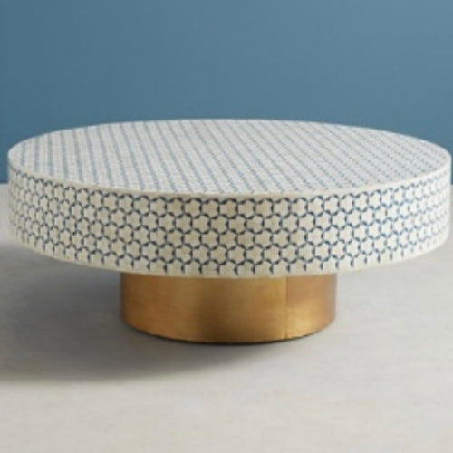 Bone Inlay Round Coffee Table Octagonal Pattern