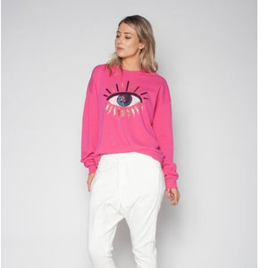 Seeing Eye Sequin Slouchy Sweater Fuchsia