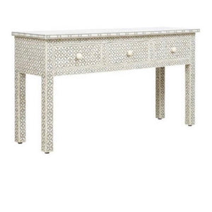 Geometric Grey Bone Inlay Console