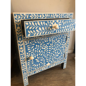 Bone Inlay Floral Large Bedside Table Blue