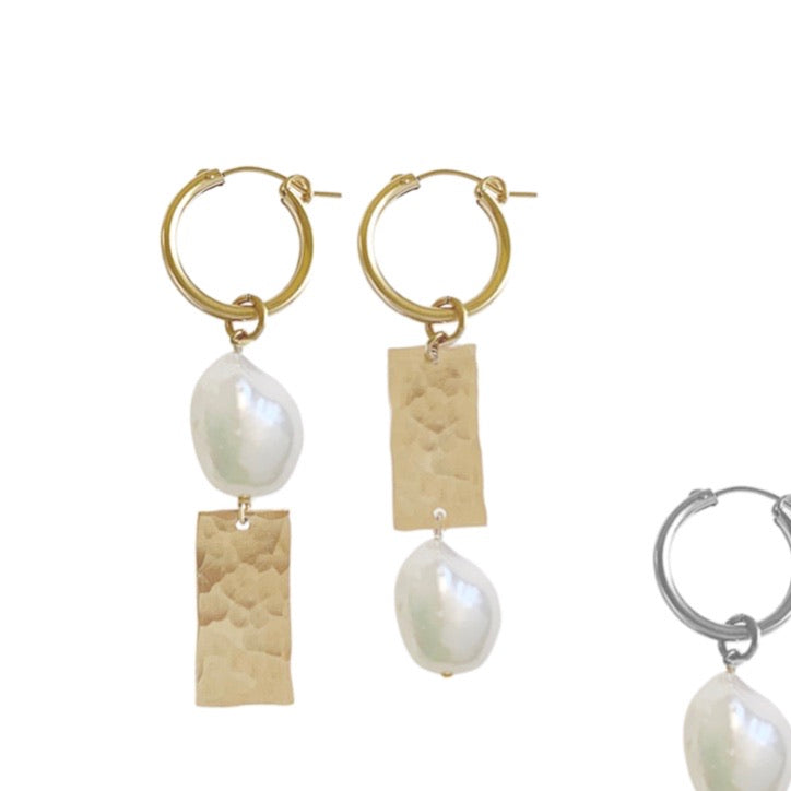 Misuzi Pearl and Tag Mis-matched Hoop Earrings - Gold