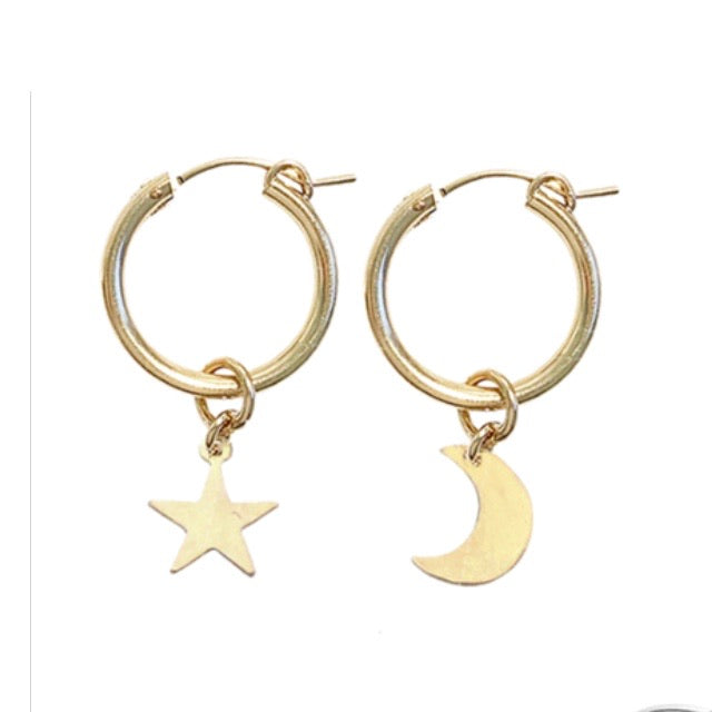 Misuzi Earrings Paris Hoop with Moon and Star - Gold