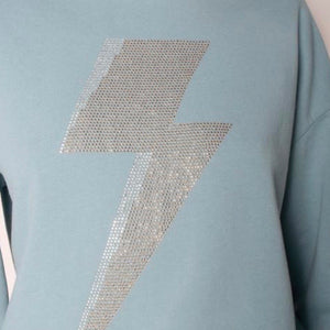 Lightening Bolt Blue Sweater with Gold Bolt
