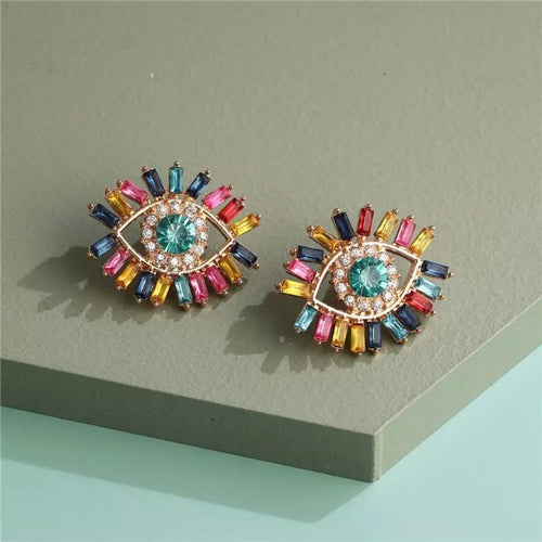 Rainbow Evil Eye Earrings