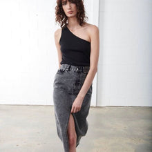 Load image into Gallery viewer, Ena Pelly Boyfriend Denim Skirt Acid Wash Black