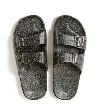 Load image into Gallery viewer, Freedom Moses Slides Metallic Black Glitter