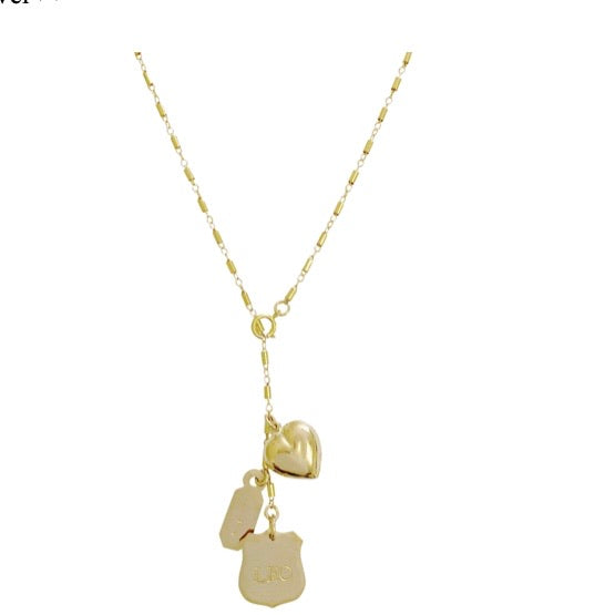 Misuzi Leon Crest Lariat Necklace - Gold