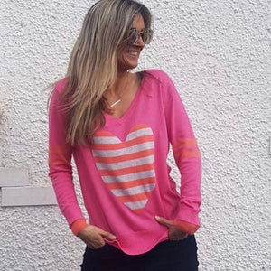 Stripe Heart Sweater – Watermelon Pink & Guava-Sophie Moran