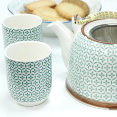 Teapot and Cup Set for Two Herbal Teapot Set - Mosaic Green