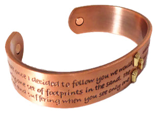 Magnetic Solid Copper Foot Prints in the Sand Bangle with Biblical Quote