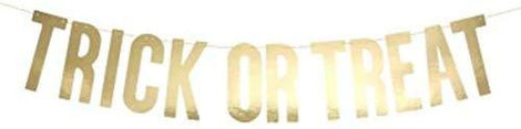 Gold Halloween Trick or Treat Banner Bunting Garland 12 x 80cm - The Marvellous Market Stall