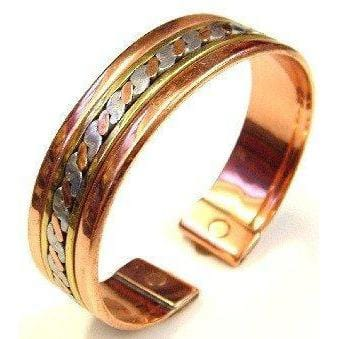 Magnetic Brass, Copper, Aluminium, Inlaid Bangle Bracelet - The Marvellous Market Stall