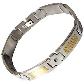Mens Stainless Steel Gold Magnetic Therapy Bracelet Arthritis Carpal Pain Relief - The Marvellous Market Stall
