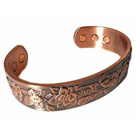 Antique Style Magnetic Copper Therapy Bangle with Flower Design - The Marvellous Market Stall