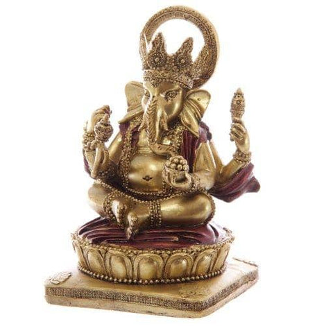 Decorative Gold and Red 14cm Ganesh Statue - Height 14cm Width 9cm Depth 8.5cm - The Marvellous Market Stall