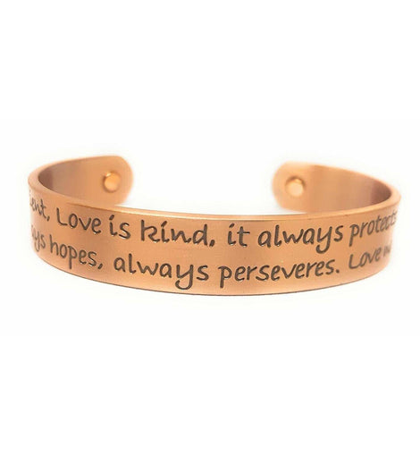 Copper Magnetic Therapy Bangle Bracelet with Romantic Love Verse Engraving - The Marvellous Market Stall