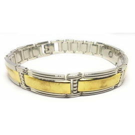 Chunky Magnetic Therapy Bracelet Bangle with Gold Coloured Bars - The Marvellous Market Stall