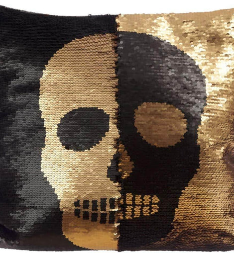 Black and Gold Sequin Skull Cushion - The Marvellous Market Stall