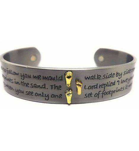 Magnetic Therapy Brushed Antique Effect Stainless Steel Bangle with Ancient Foot Prints In The Sand Quote. - The Marvellous Market Stall