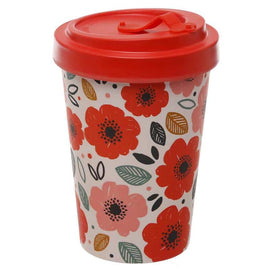 Eco Friendly Bamboo Composite Poppy Fields Screw Top Travel Mug - The Marvellous Market Stall