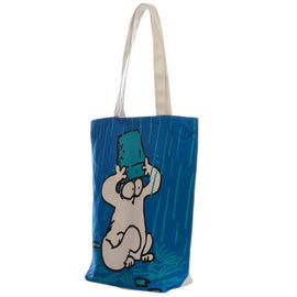Handy Cotton Zip Up Shopping Bag - New Blue Simon's Cat - The Marvellous Market Stall
