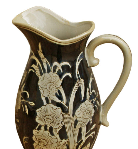 Ceramic Embossed Jug Style Vase, Regal Design - The Marvellous Market Stall