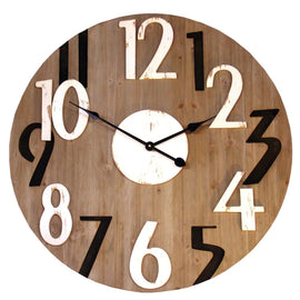 Black and White Numbered Wooden Clock - The Marvellous Market Stall