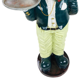 Resin Bulldog Waiter With Tray 82cm - The Marvellous Market Stall