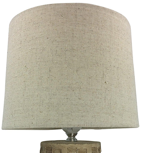 Beige Tile Lamp And Shade 38cm - The Marvellous Market Stall