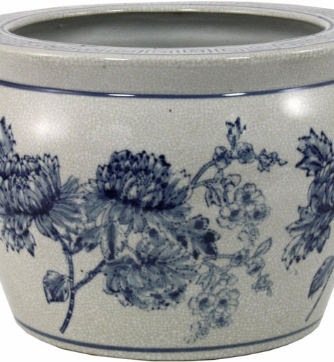 Ceramic Planter, Vintage Blue & White Magnolia Design - The Marvellous Market Stall