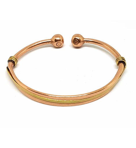Magnetic Therapy Bracelet Bangle Smooth Copper with Brass Twist Torque Design - The Marvellous Market Stall