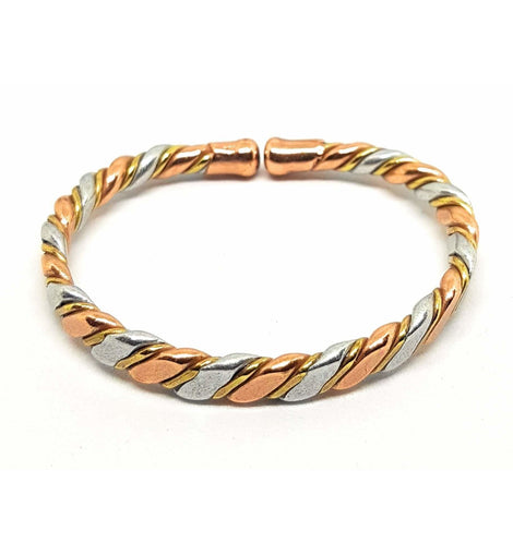 Magnetic Copper, Brass, Aluminum Bracelet with Twisted Design - The Marvellous Market Stall