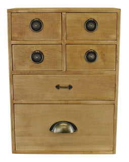 6 Drawer Storage Cabinet, Assorted  Size Drawers - The Marvellous Market Stall