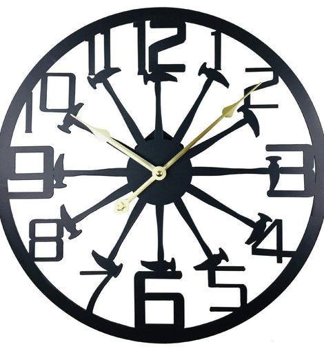 Black Metal Hammer Cut Out Wall Clock 40cm - The Marvellous Market Stall