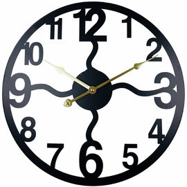 Black Metal Cut Out Wall Clock 40cm - The Marvellous Market Stall