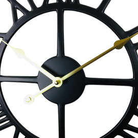 Black Metal Roman Numeral Wall Clock 39cm - The Marvellous Market Stall