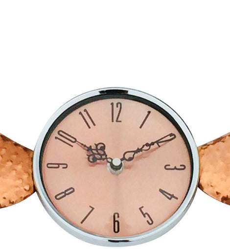 Copper Winged Wall Clock with Glass Cover 39cm - The Marvellous Market Stall