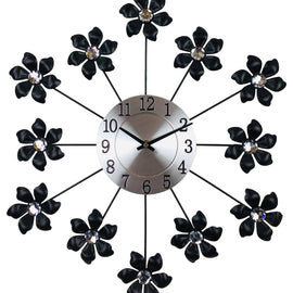 Black Metal Flower Wall Clock 49cm - The Marvellous Market Stall