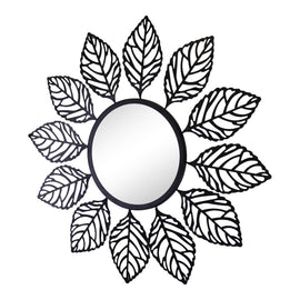 Black Metal Leaf Design Accent Mirror - The Marvellous Market Stall