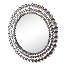Silver Metal Jewelled Circular Wall Mirror - The Marvellous Market Stall