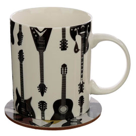 Headstock Guitar Porcelain Mug and Coaster Gift Set - The Marvellous Market Stall