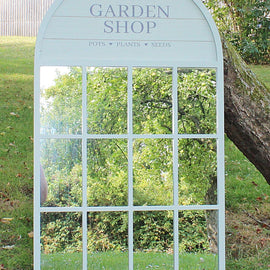 60x100cm Potting Shed Mirror, Green - The Marvellous Market Stall