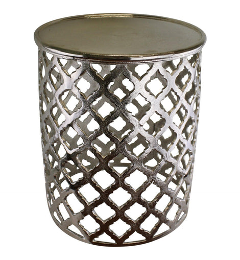 Decorative Silver Metal Side Table, Lattice design - The Marvellous Market Stall