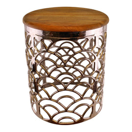 Decorative Silver Metal Side Table With A Wooden Top - The Marvellous Market Stall