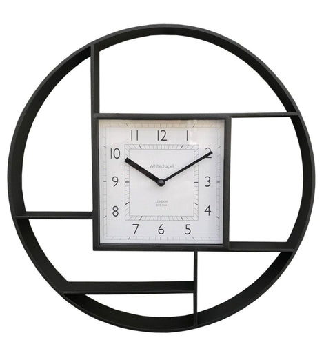 Black Plastic Wall Hanging Shelf Unit With Clock - The Marvellous Market Stall