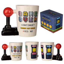 Ceramic Gaming Joystick Shaped Handle Mug with Arcade Decal - The Marvellous Market Stall