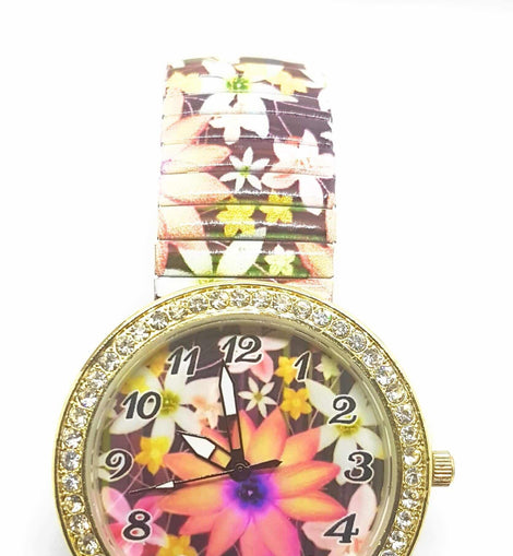 Time-iT - Floral and Diamante Womens Watch - The Marvellous Market Stall